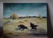 tableau paysages champs corbeaux campagne : Les glaneurs