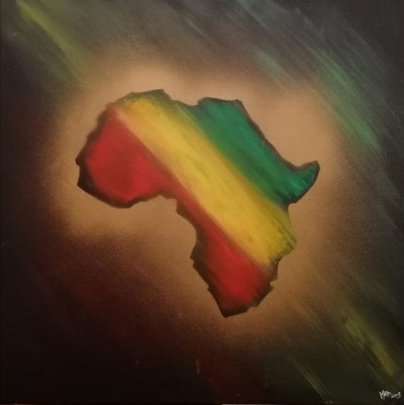 TABLEAU PEINTURE afrique rastafari Acrylique  - Afrika