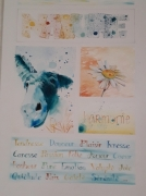 tableau animaux ane nature fleur bleu : Nature