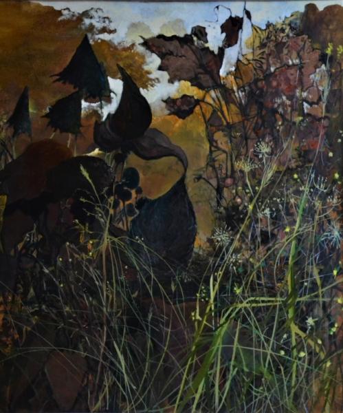 TABLEAU PEINTURE Fleurs Peinture a l'huile  - percée dans les herbes