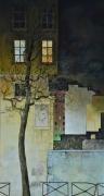 painting villes : dans la rue, la nuit.