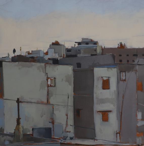 TABLEAU PEINTURE ville maison arabe urbain Architecture Peinture a l'huile  - casbah