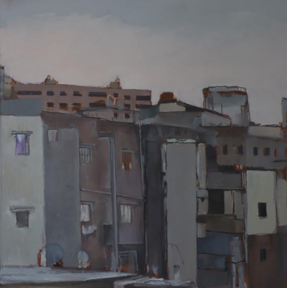 TABLEAU PEINTURE paysage urbain peinture à l'huile ville du maghreb quotidien arabe Villes Peinture a l'huile  - casbah