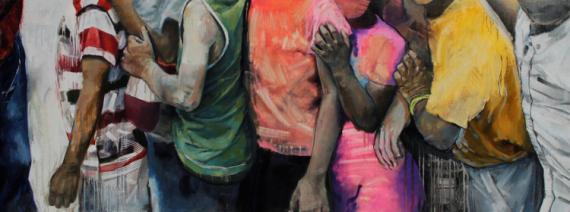 TABLEAU PEINTURE peinture peinture original peinture à l'huile art contemporain Personnages Peinture a l'huile  - line up #1