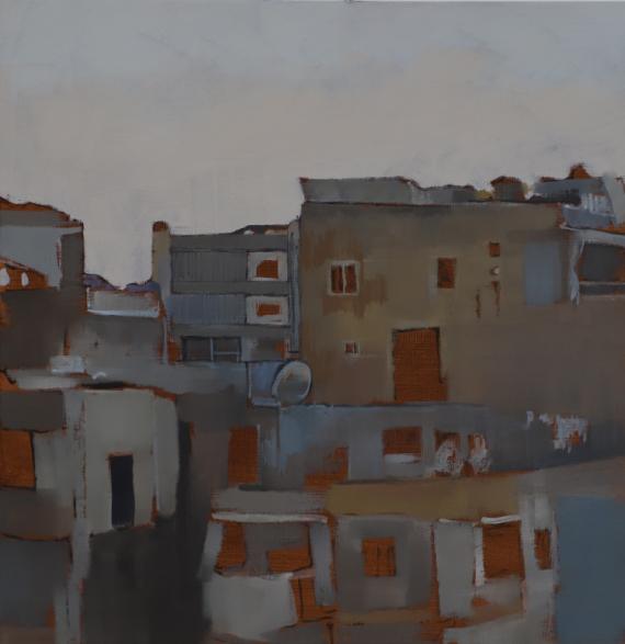 TABLEAU PEINTURE ville urbain peinture sur toile gris coloré Villes Peinture a l'huile  - casbah