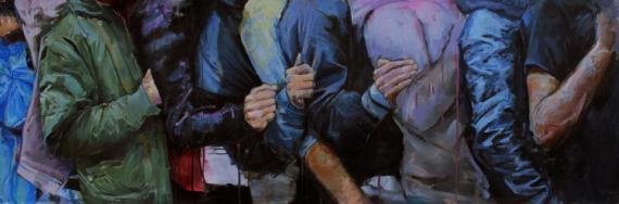 TABLEAU PEINTURE peinture contemporaine peinture originale peinture à l'huile décoration intérieur Personnages Peinture a l'huile  - line up #2