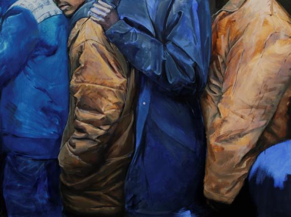 TABLEAU PEINTURE peinture figurative art engagé art contemporain peinture réaliste Personnages Peinture a l'huile  - line up