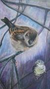 tableau animaux alpes maritimes biot oiseaux : les moineaux