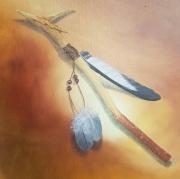 tableau autres bois shaman spirituel baton : Le bâton du shaman