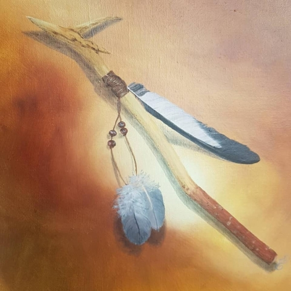 TABLEAU PEINTURE bois shaman spirituel baton  - Le bâton du shaman