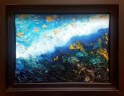 tableau abstrait ciel bleu eau dore : Vue du ciel