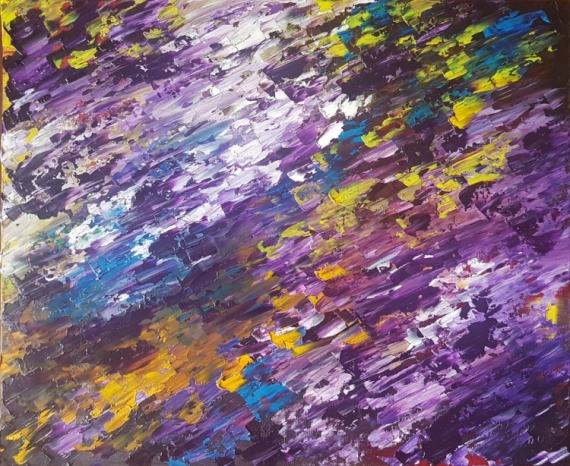 TABLEAU PEINTURE basilic spirituel expression energie Abstrait Peinture a l'huile  - Basilic