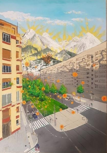 TABLEAU PEINTURE ville montagne arbre subtil Paysages Peinture a l'huile  - Boulevard Foch/Ferrié