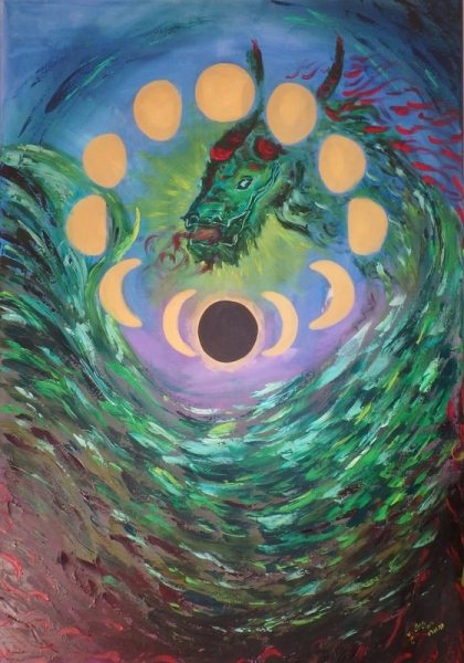 TABLEAU PEINTURE dragon lune cycle flamme Abstrait Peinture a l'huile  - Accomplissement