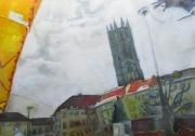 tableau villes terrasse aquarelle ciel arcades : Terrasse des Arcades