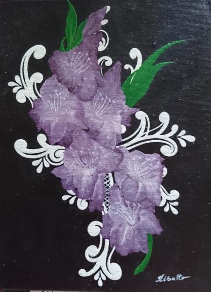 TABLEAU PEINTURE Fleurs Acrylique  - Glaïeuls