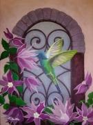 tableau animaux colibri fenetre fleur fer forge : Colibri
