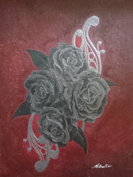 TABLEAU PEINTURE Roses Dentelle Gothique Fleurs Acrylique  - Roses noire