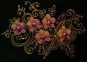 tableau fleurs orchidees dentelle arabesques : Orchidées