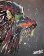 tableau animaux toile lion peinture : Lion