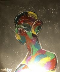 femme de dos colorée