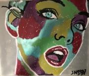 tableau personnages femme couleur femme soiree jayfray : femme de soirée