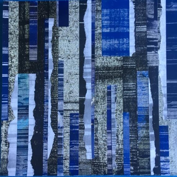 MIXTE bleu blue collage abstrait Abstrait  - Bleu