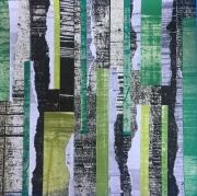 mixte abstrait vert green collage abstrait : Vert
