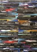 mixte abstrait couleurs collage abstrait relief : Birds