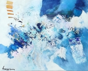 tableau abstrait bleu espoir : Regarde l'azur