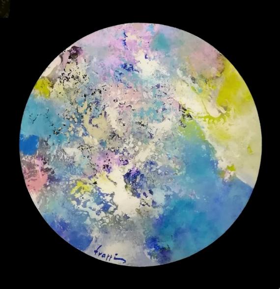 PAINTING Couleur Abstrait Lumière Abstrait Acrylique  - La rose bleue