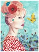 tableau personnages brigitte bardot fleurs portrait papillon : BB - tirages en édition limitée