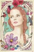 tableau personnages alphonse mucha nature colibri jeune femme : Libere - tirages en édition limitée