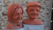sculpture personnages vieux paysan : Marguerite et Léonce