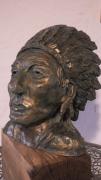 sculpture personnages indien chef buste : le grand chef