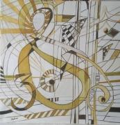 tableau abstrait jaune moutarde musique abstrait : Mouvements