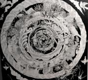 """tableau animaux nature animaux mandala noir et blanc : BESTIAIRE """" entre terre, ciel et mer"""""""