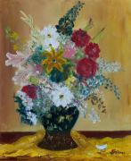 tableau fleurs bouquet nature nature morte fleurs : BOUQUET AU VASE BLEU