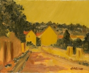 tableau paysages france vexin village crepuscule : Village au crépuscule (Vexin français)