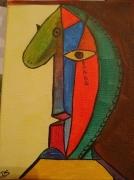 tableau abstrait cheval tristesse : Larme du cheval