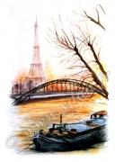 art numerique paysages paris peniche seine pont : REPRODUCTION ART IMAGE TOUR EIFFEL PARIS PENICHE