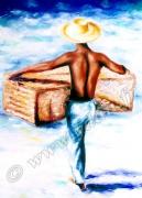 tableau personnages pecheurs antilles nasse mer : REPRODUCTION ART PECHEUR ANTILLAIS A LA NASSE