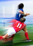 art numerique sport rugbyman placage joueurs gallois : Reproduction image d'art Creation  Ydan Affiche COULEURS PO