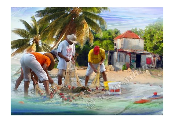 ART NUMéRIQUE PECHEURS ANTILLES MER PECHEURS Personnages  - Reproduction image d'art Creation  Ydan Affiche ANTILLES RE