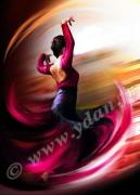 art numerique sport andalouse folklore danse andalouse danseuse : Reproduction image d'art Creation  Ydan Affiche FOLKLORE AN