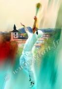 art numerique sport pelote basque main nue itxassou pays basque : Reproduction image d'art Creation  Ydan Affiche PELOTE PALE
