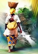 art numerique personnages antilles cascade enfant femme : REPRODUCTION ART IMAGE AFRIQUEFEMME A LA CASCADE