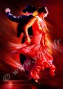 art numerique sport rouge et noir couple danse andalouse folklore : Tableau peinture Reproduction image d'art Creation  Ydan Af