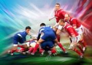 art numerique sport melee equipe rugbyman : Reproduction image d'art Creation  Ydan Affiche SORTIE DE M