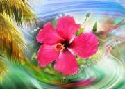 art numerique fleurs hibiscus antilles fleur martinique : Reproduction image d'art Creation  Ydan Affiche FLEUR ANTIL